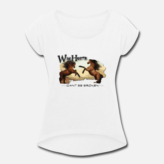 Wild Horse T-Shirts - Wild Horse Wild Hearts - Women's Rolled Sleeve T-Shirt white
