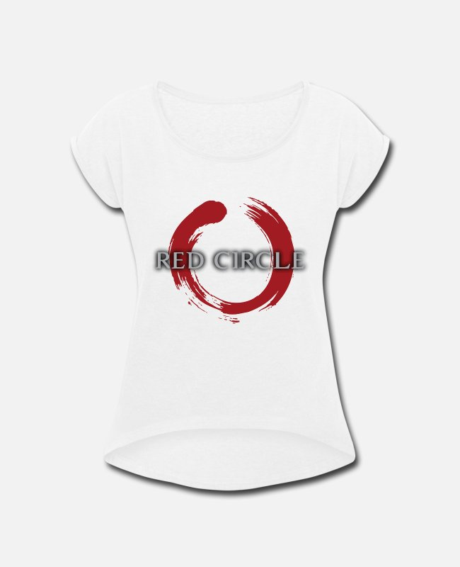 Martial Arts T-Shirts - Red Circle - Women's Rolled Sleeve T-Shirt white