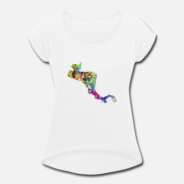 Central America Central America map with country borders - Women's Roll Cuff T-Shirt
