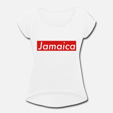 Caribbean Jamaica box red - Women's Rolled Sleeve T-Shirt