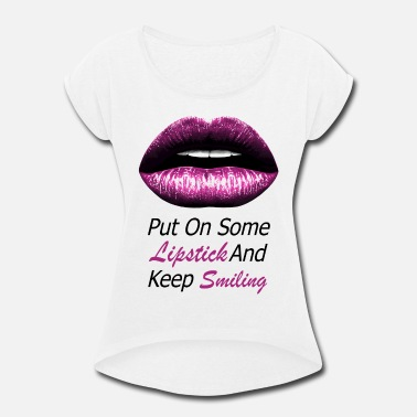 Lipgloss Pink lips (black) - Women's Rolled Sleeve T-Shirt