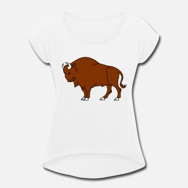 Bison bison - Women's Rolled Sleeve T-Shirt