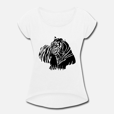 Black Designs Black Tiger / Black Panther Design - Women's Roll Cuff T-Shirt