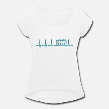 Choir Music Heartbeat Choir Singer Opera Music School Fun Gift - Women's Roll Cuff T-Shirt