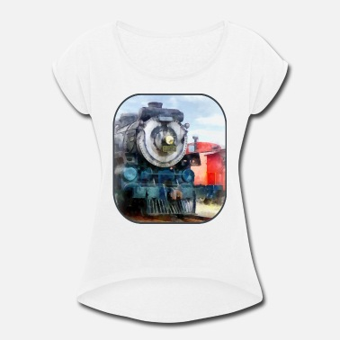 Locomotive Locomotive and Caboose - Women's Rolled Sleeve T-Shirt