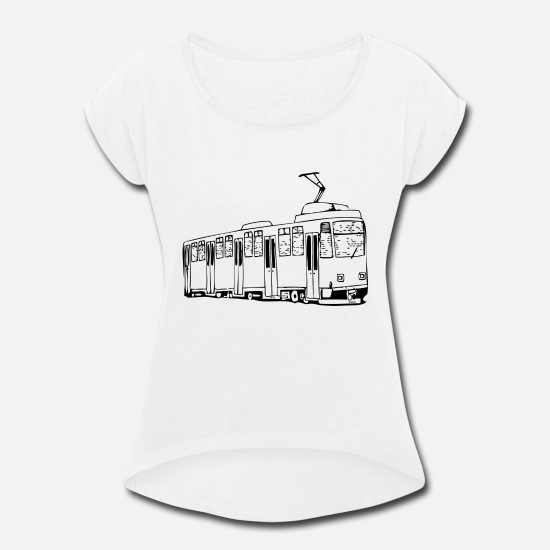 Son T-Shirts - Tram in the city - gift idea - Women's Rolled Sleeve T-Shirt white