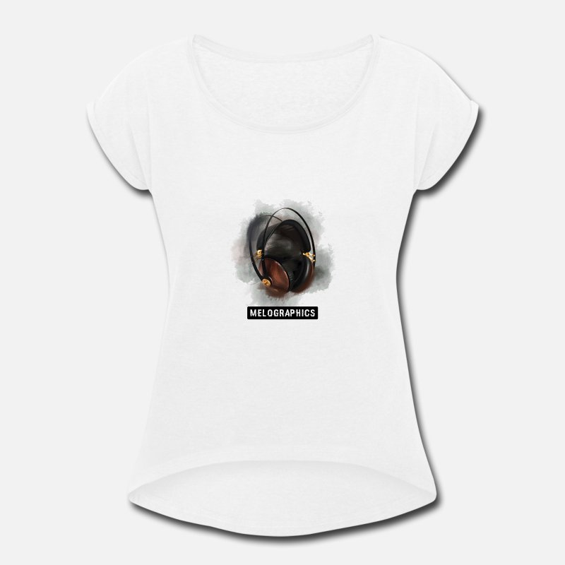 Art T-Shirts - Melographic Headphones - Women's Rolled Sleeve T-Shirt white