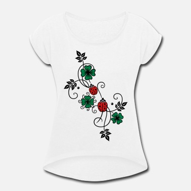 Tendril Tendril with shamrocks and ladybirds. - Women's Rolled Sleeve T-Shirt