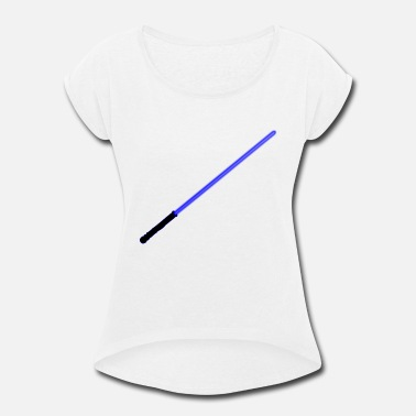 Laser Sword Blue Laser Sword - Women's Roll Cuff T-Shirt
