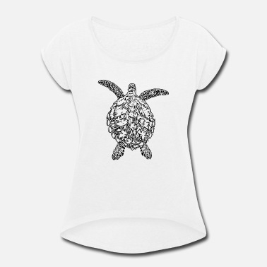 Sea Sea Turtle - Women's Rolled Sleeve T-Shirt