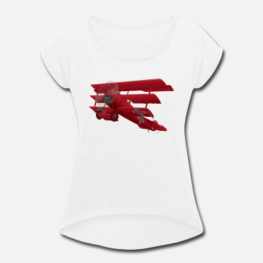 Wwi DR-1 Red Baron Triplane WWI Warbird - Women's Roll Cuff T-Shirt