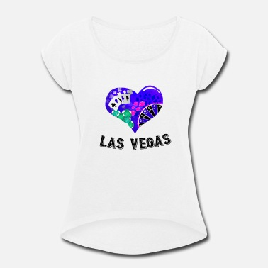 Las Vegas Birthday Love Las Vegas Heart design 2 - Women's Roll Cuff T-Shirt