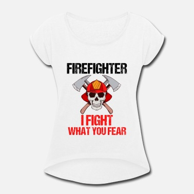 Son Fire Fighter Firefighter Fire Department Gift - Women's Rolled Sleeve T-Shirt