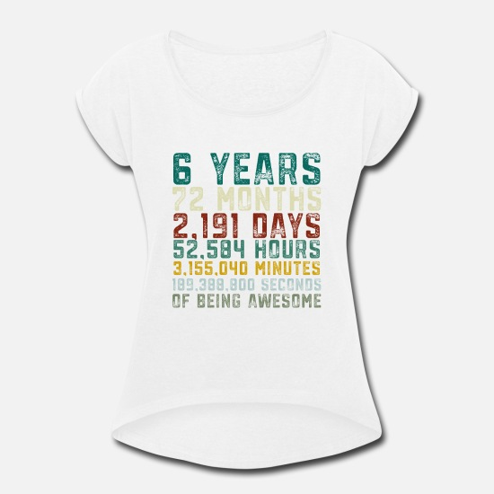 Womens Rolled Sleeve T ShirtVintage 6 Years Old 6th Birthday Boy Anniversary