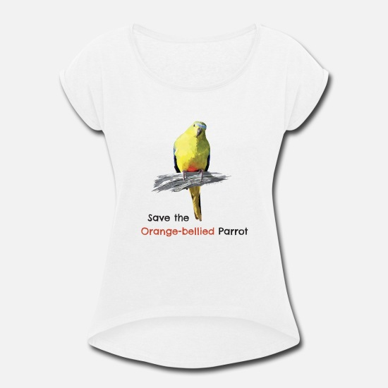 Save T-Shirts - orange bellied parrot - Women's Rolled Sleeve T-Shirt white