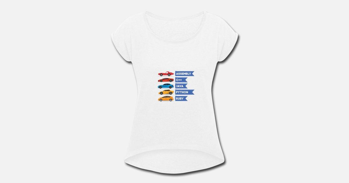 C++ Java Python Ruby Language Car Comparison Women's Rolled Sleeve T-Shirt  | Spreadshirt