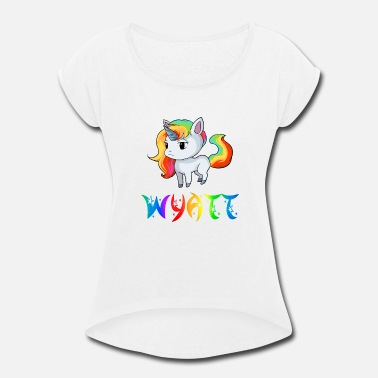 Wyatt Wyatt Unicorn - Women's Roll Cuff T-Shirt