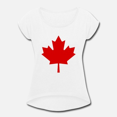 Canada Red Maple Leaf Canada Red Leaf - Women's Roll Cuff T-Shirt