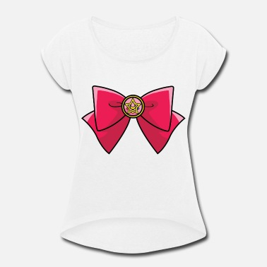 Moon Sailor Moon bow - Women's Rolled Sleeve T-Shirt