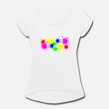 Color Splashes of color splashes of color color color du - Women's Rolled Sleeve T-Shirt