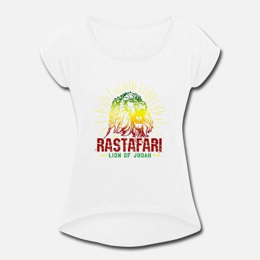 Reggae Lion Of Judah Rastafari - Lion Of Judah Reggae Music Rasta Gift - Women's Roll Cuff T-Shirt