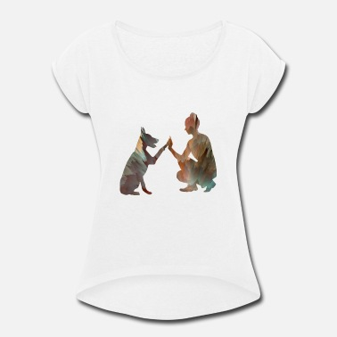 Dog Owner Dog and owner - Women's Rolled Sleeve T-Shirt