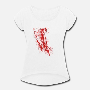 Stained Blood Stains Halloween - Women's Roll Cuff T-Shirt