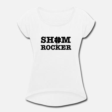 053077d35a095b Dark Green Shamrocks Shamrocker dark St Patrick  39 s Day Clover design -  Women . Women s Rolled Sleeve T-Shirt