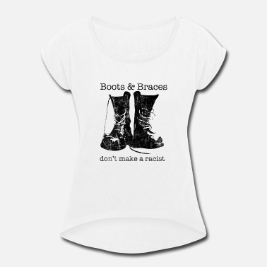 Skinheads Boots & Braces graphic - Skinhead design - - Women's Rolled Sleeve T-Shirt