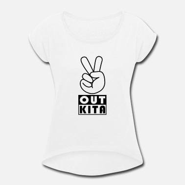 Kita Peace Out Schulkind Grundschule Erster Schultag Ei - Women's Rolled Sleeve T-Shirt