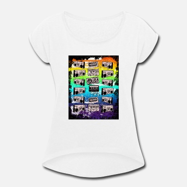 Boom Box Tapes & Blasters - Women's Rolled Sleeve T-Shirt