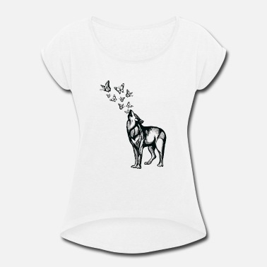 Flora Wolf and butterflies - Women's Rolled Sleeve T-Shirt