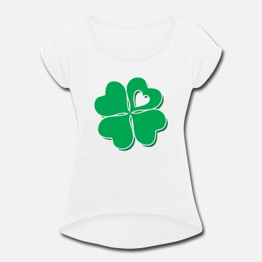 Shamrock Four Leaf Clover Heart Lucky St Patricks Day - Women's Rolled Sleeve T-Shirt