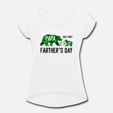 Cuban Our First Papa And Cub Father s Day 2019 - Women's Rolled Sleeve T-Shirt