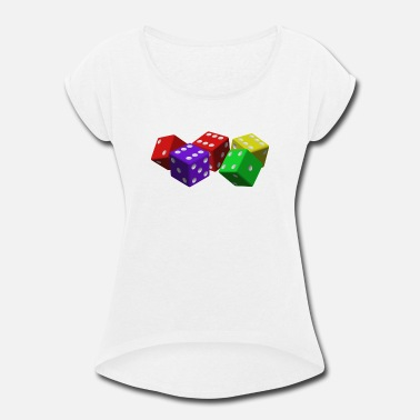 Vegas Colorful Dice - Women's Rolled Sleeve T-Shirt