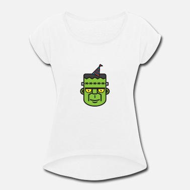 Grave Halloween frankensteins monster trick or treat - Women's Rolled Sleeve T-Shirt