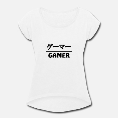 Nerd Gamer Japan Kanji - Women's Rolled Sleeve T-Shirt