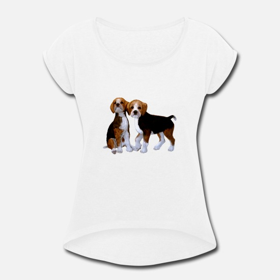 Beagle T-Shirts - Beagle Love - Women's Rolled Sleeve T-Shirt white