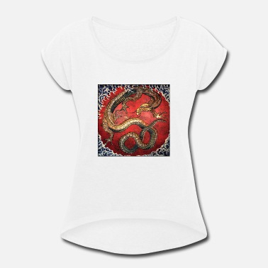 Water Match Water Dragon by Hokusai - Women's Rolled Sleeve T-Shirt