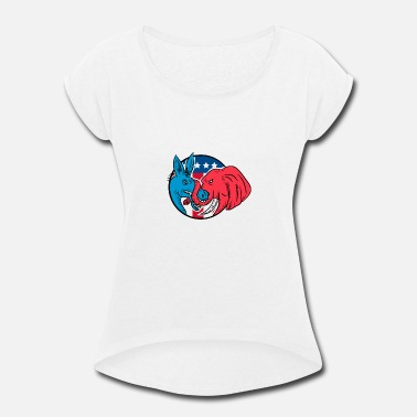 Pachyderm Donkey Biting Elephant Trunk American Flag Drawing - Women's Rolled Sleeve T-Shirt