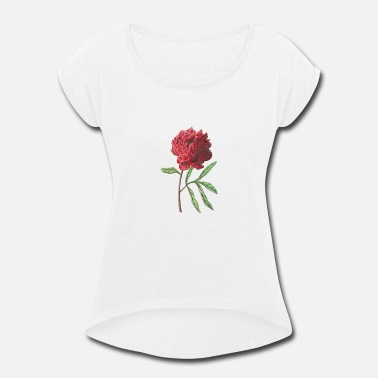 Alster Red tree peony - Women's Rolled Sleeve T-Shirt