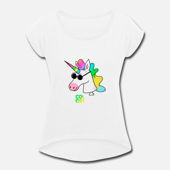 Unicorn T-Shirts - COLORS - Women's Rolled Sleeve T-Shirt white