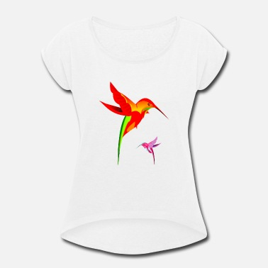 Hummingbird Kids Colorful Hummingbirds Birds Design - Women's Rolled Sleeve T-Shirt