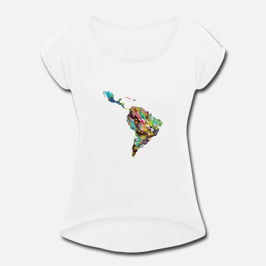 Latin America Latin America map - Women's Roll Cuff T-Shirt