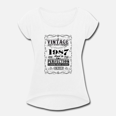 1987 Premium Vintage 1987 Aged To Perfection - Women's Rolled Sleeve T-Shirt