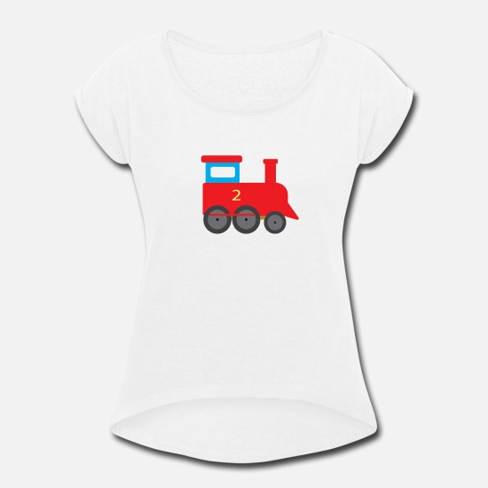 Train T-Shirts - Train for kids steam engine trains tram railway - Women's Rolled Sleeve T-Shirt white