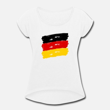 Federal Republic Of Germany Fahne Deutschland handpainted - Women's Rolled Sleeve T-Shirt