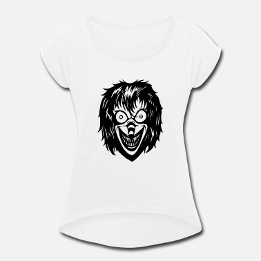 Word Attack Horror Face - Women's Rolled Sleeve T-Shirt