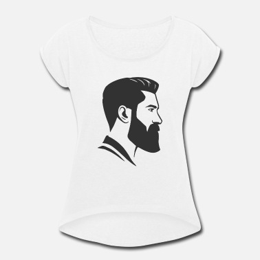 Undercut Head Face Shape Beard Undercut Hair Cut Undercut - Women's Roll Cuff T-Shirt