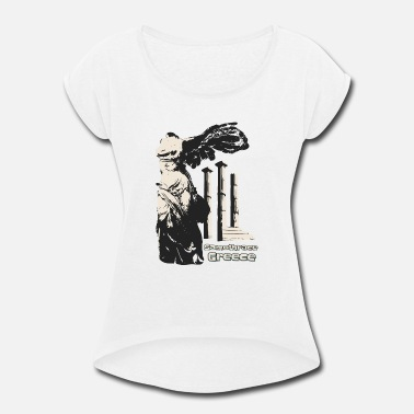 Greece Winged Victory of Samothrace Island - Greece - Women's Rolled Sleeve T-Shirt